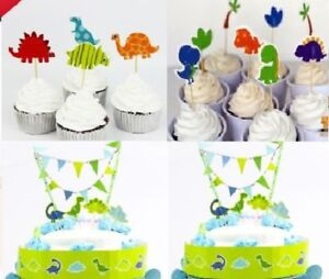 Dinosaur Cupcake Toppers Candles Boys Birthday Cake Topper Bunting Wrap Party