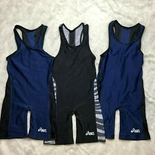 Lot of 3 Blue Black Asics Wresting Singlet Size Medium J2Y