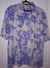 VTG Honolua Surf Co. Blue White Hawaiian Shirt L Large