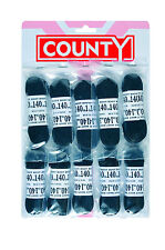 County flat black 140cm football laces - 1 card - 10 to a card