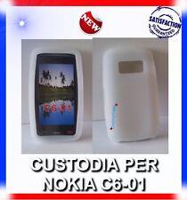 Custodia COVER CASE SILICONE BIANCA CLEAR TRASPARENTE PER NOKIA C6-01
