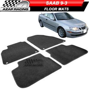 Fits 03-11 Saab 9-3 Car Floor Mats Carpet Front & Rear Black Nylon 4PC