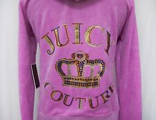 Juicy Couture Women's ORIGINAL Velour Jacket in Varsity Bling Crown Pink L NWT