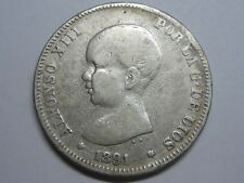 SPAIN 1891 ALFONSO XIII 2 PESETAS SPANISH SILVER COIN
