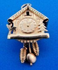 CUTE 18k Yellow Gold Mechanical Clock Charm