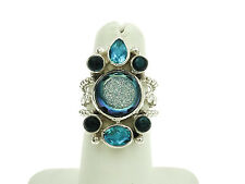 Sajen Sterling Silver Ring with Blue Druzy and Tourmaline