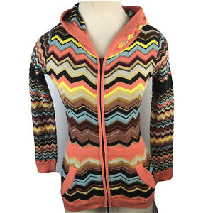 "Missoni For Target Womens Velour Knit Hoodie Zig Zag Chevron Sweater Jacket ""MM"""