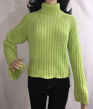 Next Era Teen Sweater Large Lime Green Ribbed Turtleneck Cotton Blend School Top