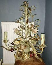 Large Metal Shabby Chic 3 Bulb Chandelier Leaf Flower detail Sage Green & Gold