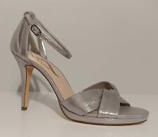 "Nina Silver Satin Sandals 4"" HEELS Leather Sole Size 9m US 39m EUR"