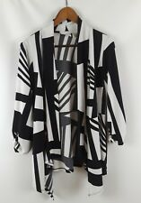 Chico's Size 0  Open Front Jacket Stretch Poly Black White Travel Small S 4 6