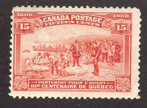 #102  -  Canada -  1908 -  15 Cent -  MNG  -  F -  superfleas - cv$120