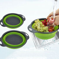 Kitchen Collapsible Colander Fruit Vegetable Wash Drain Basket Folding Strainer