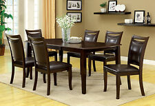 Dark Cherry Finish Dining Table w/ Leaf Padded Leatherette Seat Chairs 7pc Set
