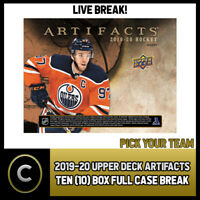 2019-20 UPPER DECK ARTIFACTS 10 BOX (FULL CASE) BREAK #H568 - PICK YOUR TEAM -