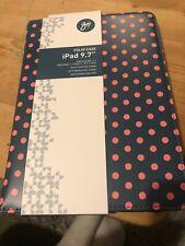 Goji Folio Case Ipad 9.7 Inch Screen Brand New Blue Pink Dots