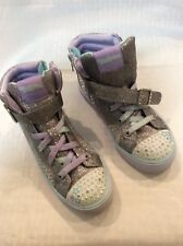 Skechers Girls Youth EUC Twinkle Toes Light Up High Top Sneakers Size 2. Multi