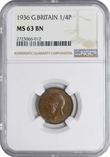 1936 MS63 BN Great Britain Farthing 1/4 Penny UNC NGC KM# 825 George V Britannia