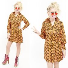 Vtg 60s PSYCHEDELIC Micro Mini Dress Peter Pan Collar Dolly PAISLEY Festival mod