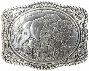 Crumrine Mens Western Bison Scalloped Belt Buckle (Silver)