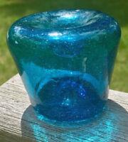HAND BLOWN BLUE GLASS INKWELL PONTIL FUNNEL BOTTLE BUBBLES RARE AQUA COLOR !