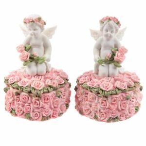 Rosebud Heart Trinket Box Cherub Angel Ornament - Rose Cherubs Trinket Box Gift