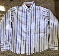 Abercrombie Boys Dress Oxford Striped Shirt L Large Long Sleeve Blue White EUC