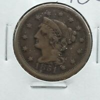 1851 Braided Classic Liberty Head US Large Cent 1c Choice Fine Circulated