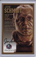 Joe Schmidt Pro Football Hall of Fame Bronze Bust Autographed Card 100/150