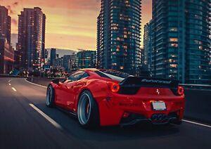 Ferrari 458 Red Sports Car City Drive Poster Print A6 A5 A4 A3 A2 A1 A0