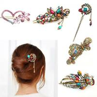 Girls Love Shaped Flower Hair Clip Stick Crystal Peacock Butterfly Hairpins