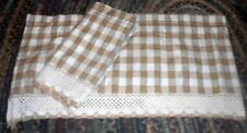 "VALANCES 1 PAIR BROWN and WHITE CHECK WITH WHITE TRIM 15"" LENGTH"