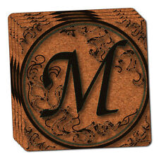 Vintage Letter M Initial Black Tan Thin Cork Coaster Set of 4
