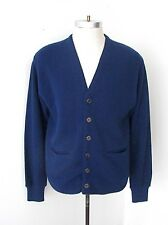 Vtg 60s 70s Campus Navy Blue Acrylic Pique Cardigan Grandpa Sweater Pockets M