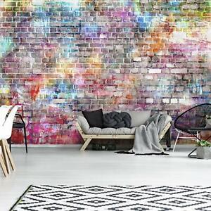 Fototapete Graffiti Ziegel Backsteine Steinoptik Kinderzimmer Mauer Tapete 83