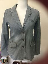 New Earl Jean Blue White Striped Blazer S Small Womens Cotton 3 Button Jacket