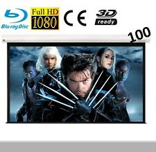 "Visualax Electric Motorized HD 100"" TV Cinema Projector Screen with Remote"
