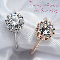 18K White & Rose Gold Plated Simulated Diamond Sparkling Round Cut Crown Ring