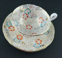 Tea Cup and saucer Set Guaranteed English Bone China Gold Blue Orange