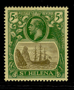 ST. HELENA GV SG110, 5s grey & green/yellow, LH MINT. Cat £45. WMK SCRIPT