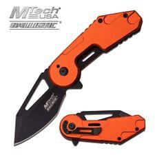Spring-Assist Folding Pocket Knife Mtech Orange Black Blade Heavy Duty Tactical