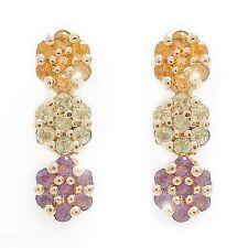 0.28ctw PERIDOT CITRINE & AMETHYST Gemstone 10K Yellow GOLD Drop Earrings