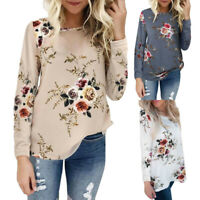 Women Round Neck Floral Print Shirt Tee Casual Long Sleeve Tops Blouse Pullover