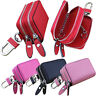 Portable Leather Car Key Holder Coin Card Bag Case Purse Double Zip Wallet