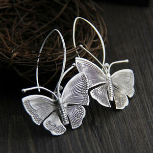 925 Silver Butterfly Ear Hook Drop Dangle Earrings Women Party Band Jewelry Gift