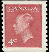 Canada Mint NH F+ with POSTES-POSTAGE 1950 4c Scott #300 Coil KGVI Stamp