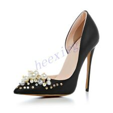 Womens Stiletto High Heel Pumps Pearl Pointy Toe Rivets Slip On Party Shoes Chic