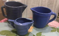 Set Of 3 Blue Ringware (Ribbed) Pitchers * Bauer ?