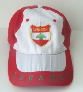 LEBANON Red White Embroidered Adult Size Strapback Cap Hat