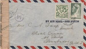 Surinam ..1942 censored airmail cover to St. Philip Barbados